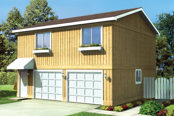 26'X 28' Two-Bedroom Apartment Garage - Plan 6015