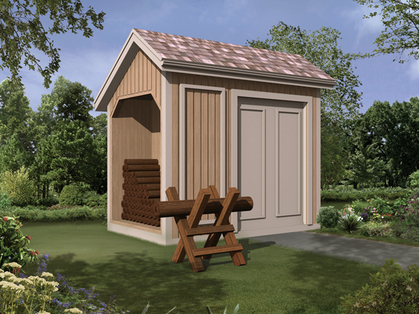 Storage Shed with Log Bin  - Project Number 85917