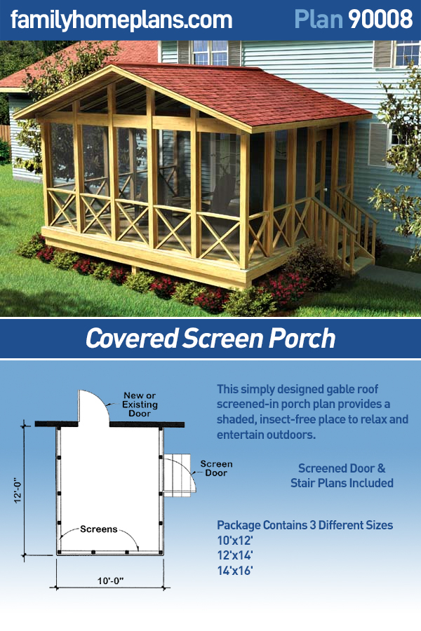 Covered Screen Porch  - Project Plan 90008